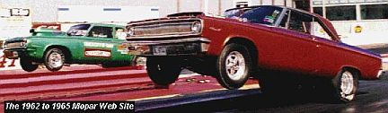 Cope's 1965 Dodge wheelstand shows Mopar torque, 1962 to 1965 style!  Thanks to Cope Racing Transmissions for the picture!