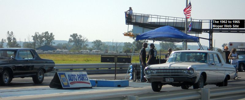 1963 Plymouth versus 1964 Dodge at 2010 Geezer Drags