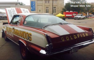 1965 Plymouth Barracuda, GOLDFISH, in the MONA, Museum of Nebraska Art, Kearney ,Nebraska; the lot is reserved for dragsters during the Kearney Cruise Nights car Show and shine.