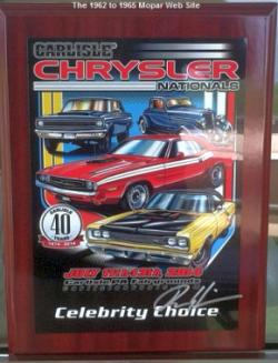 1965 Plymouth Barracuda, GOLDFISH Celebrity Choice Award Plaque in Carlisle