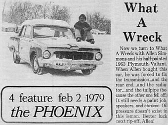 1963 Plymouth Valiant newpaper article