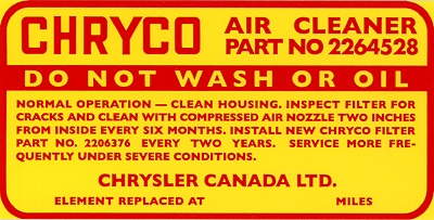 CHRYCO air cleaner decal
